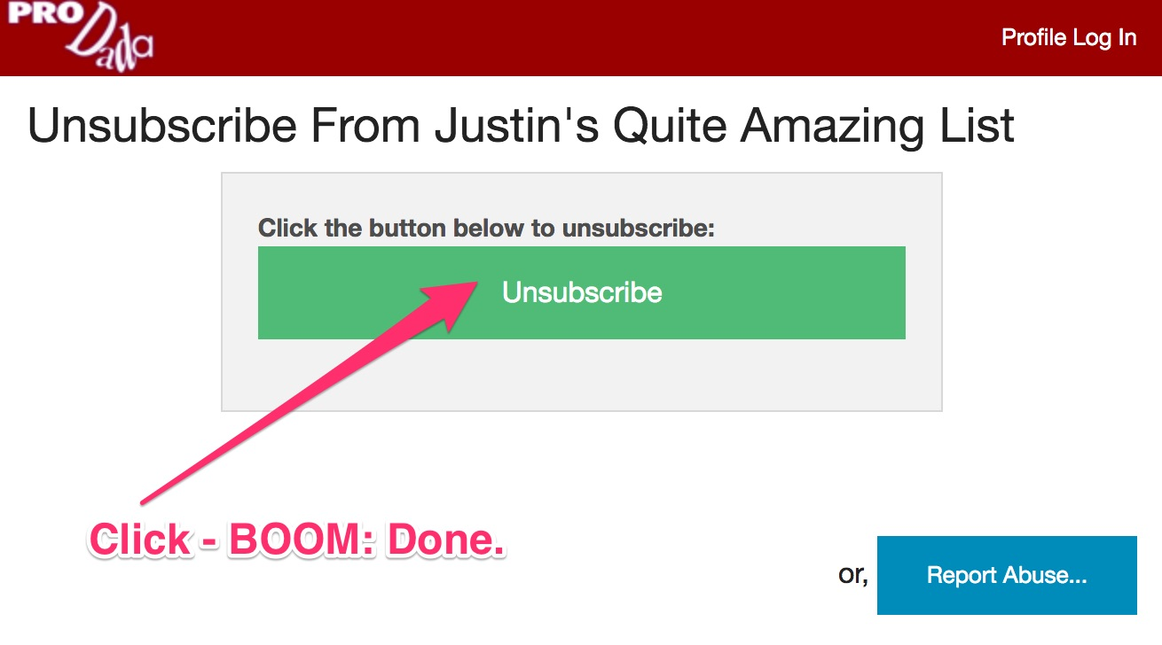 Click a button to complete the unsubscription