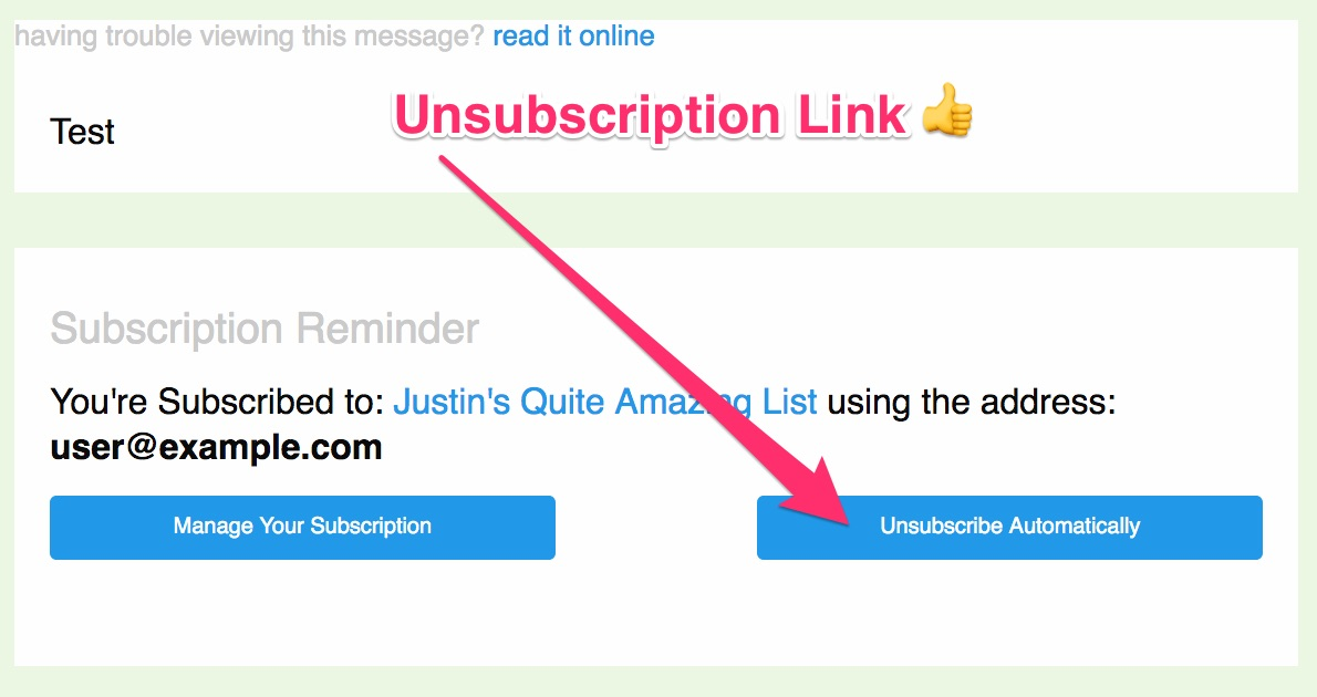 An example of an unsubscription link in a mailing list message