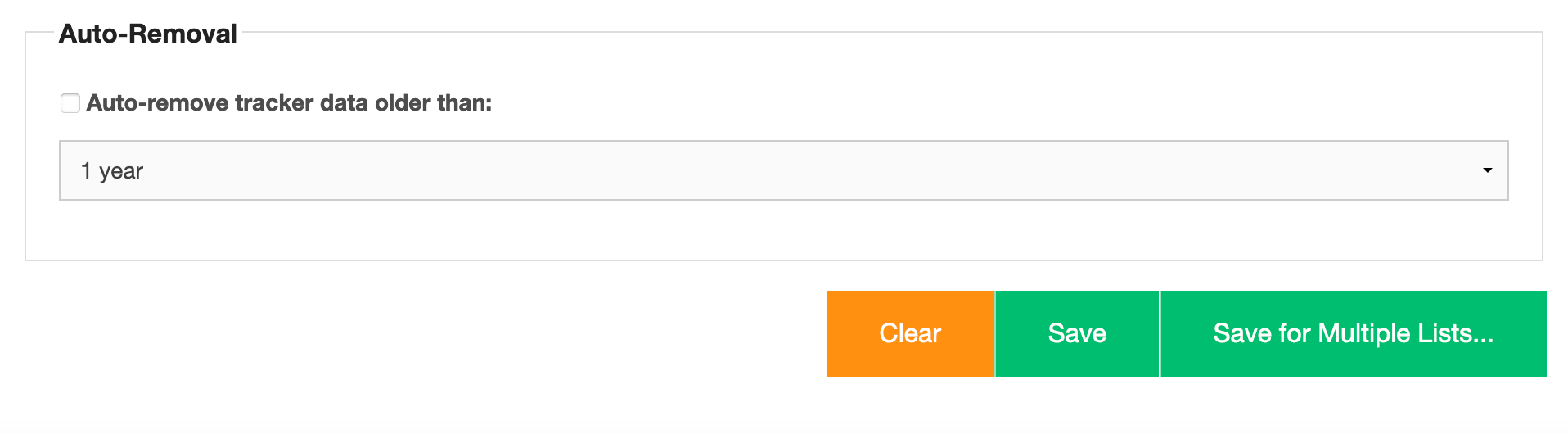 Find the option to auto-remove old tracker data at the bottom of the Tracker plugin screen